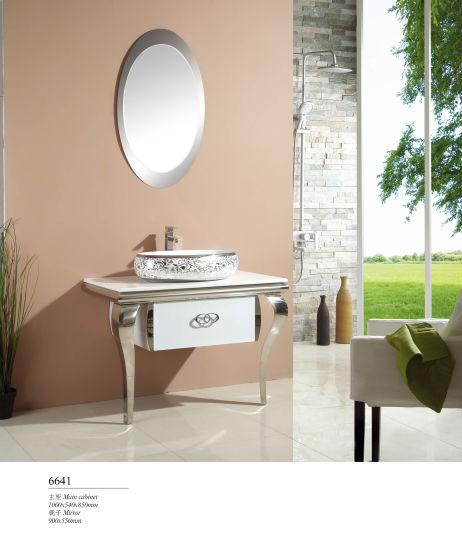 Floor Standing Luxury Stainless Steel Bathroom Vanity Cabinet with Mirror