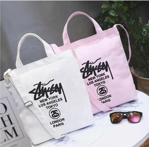 Customized Logo Pink White Women Custom Cotton Canvas Tote Bag