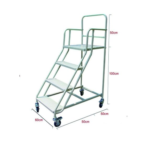 Removable 1000mm Steel Mobile Platform Ladder With 4 Wheels Storage Rack  For Sale