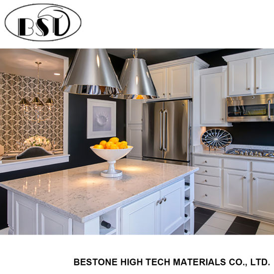 White Quartz Stone Laminate Kitchen Island Countertop