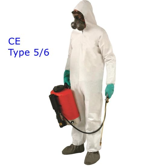 6 White Disposable Protective Heavy Duty Overall Coverall Boiler Suit Type 5