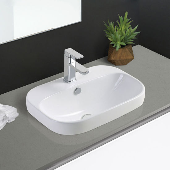 2018 New Design Drop in Mounted Ceramic Cabinet Corner Wash Basin
