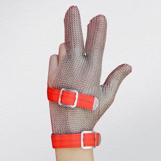 3 Finger Chain Mail Protective Anti-Cut Glove-2380