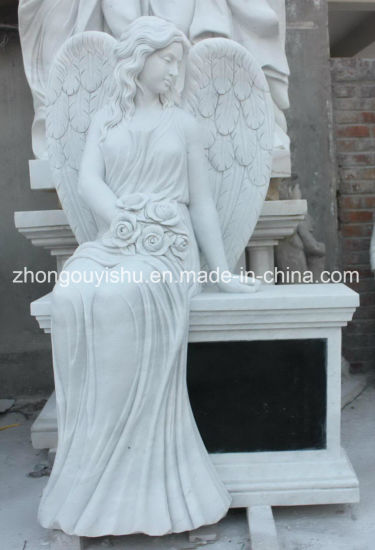 Garden Decoration Monument Sculpture White Marble Stone Beautiful Angel Statue pictures & photos