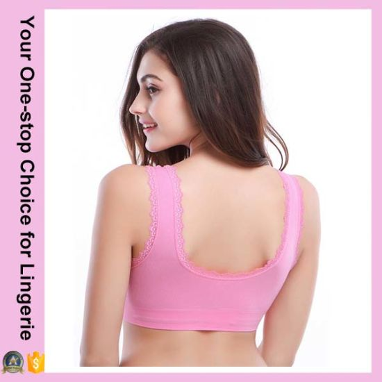 Fashion Women Double Front Closure Sports Genie Bra with Lace (15030) pictures & photos