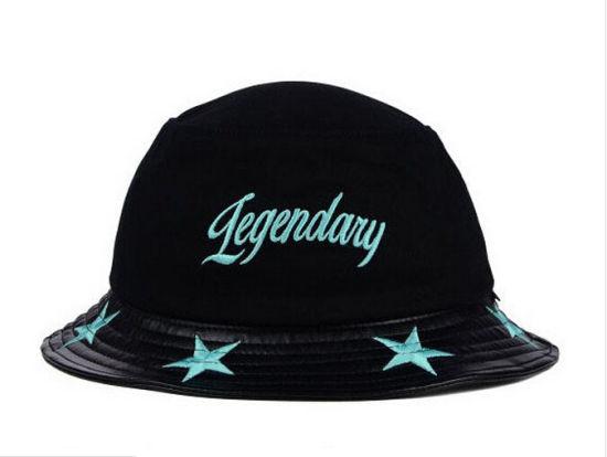 8f66e0386a8 China New Design Black Cotton and PU Bucket Hat - China Hat