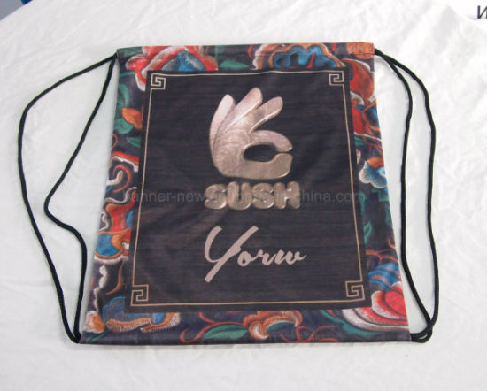 Min. Order 1 Custom Design Polyester Fabric Drawstring Bag (SS-dB2) pictures & photos