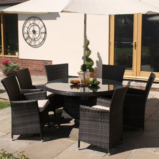 6 Seater Round Dining Table: China Well Furnir Rattan 6 Seater Outdoor Round Dining