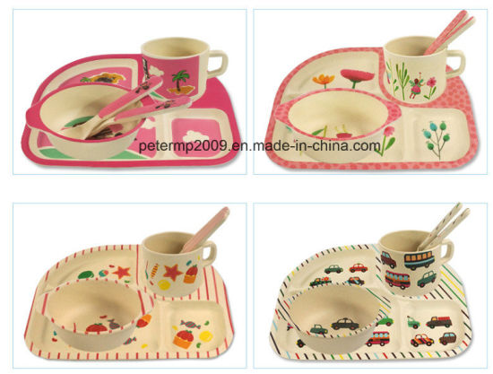 China Animal Print Baby Bamboo Fiber Dinnerware Sets with Four Piece ...