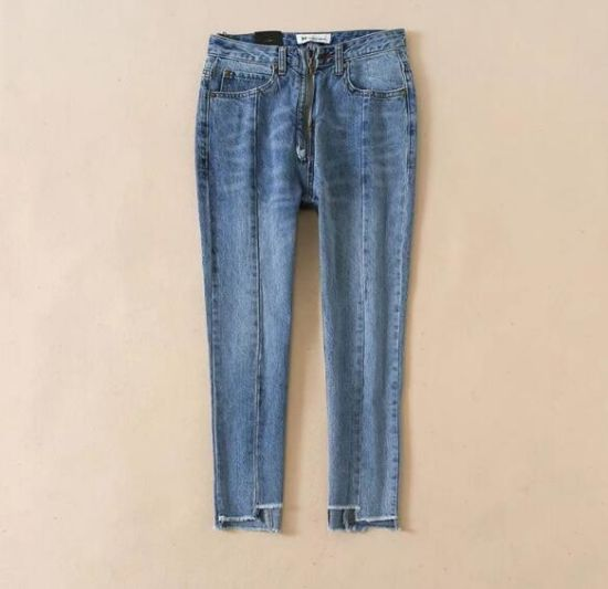 High-Waisted Zippers with Nine Marks of Woolen Edges, Woman Jeans/Pants pictures & photos