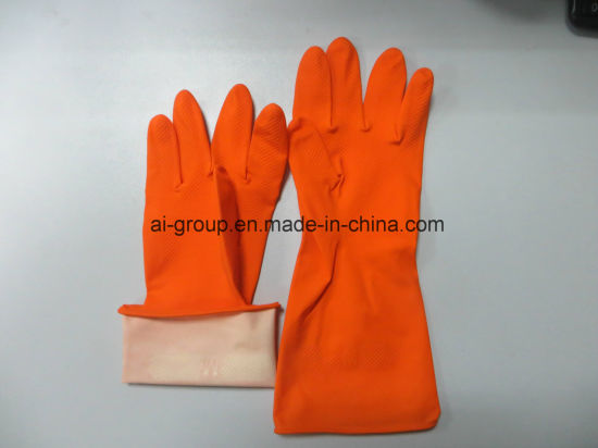 Orange Latex Household Glove for Agriculture, Fruit Harvesting, Garden Maintenance, Household and Janitorial pictures & photos