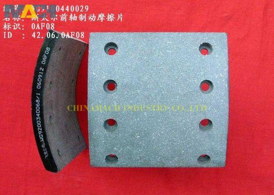 Sinotruk HOWO Trucks Styer Front Axle Brake Block/ Brake Lining/ Brake Pad (Wg9100440029)