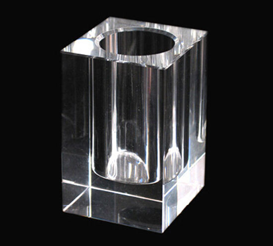 Crystal Glass Clear Pen Holder for Office Decoration