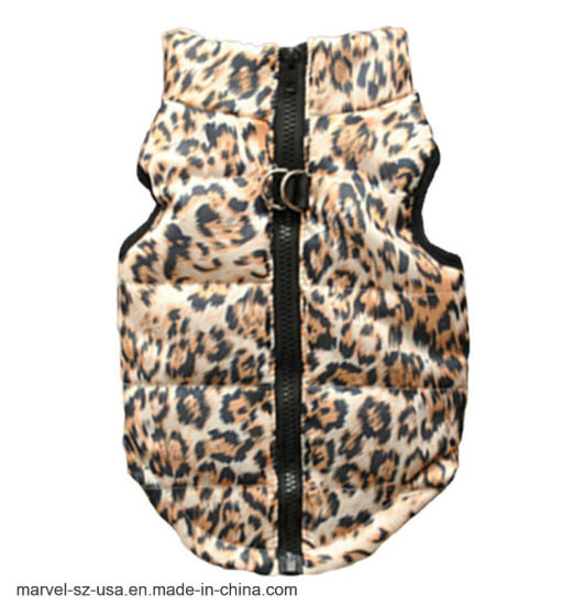 Pet Supply Leopard Printing Stripe Pet Coat Dog Winter Clothes
