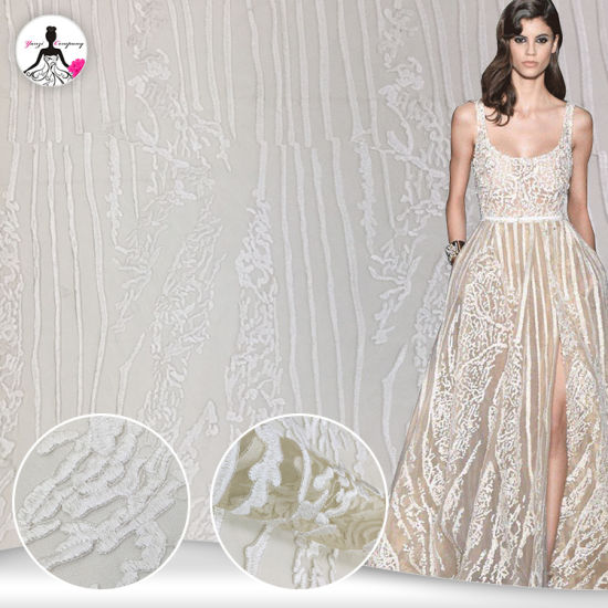 European Women Dress Wedding Custom Embroidery Fabric Lace for Wholesale