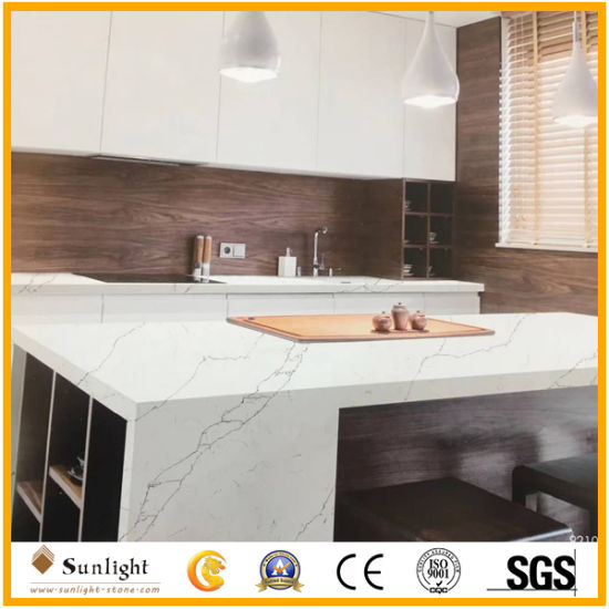 Best Selling Custom White Artificial Quartzite Countertops, Vanity Tops, Kitchen Tops