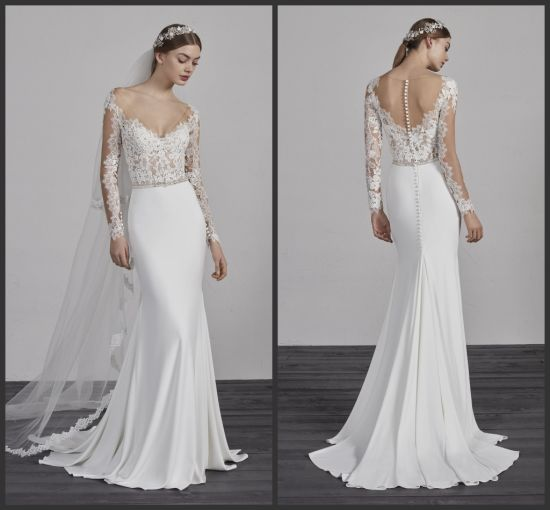 China Mermaid Boho Beach Bridal Gowns Long Sleeves Spandex Jersey ...