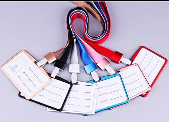 Horizontal Aluminum Alloy Business Work Card ID Badge Lanyard Holder