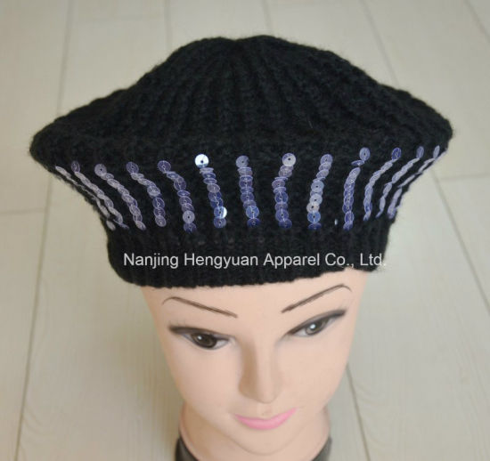 d1ab9b7f4f33f China Sequined Lady Knitted Beret Hat (HY17031411 HY17031537 ...