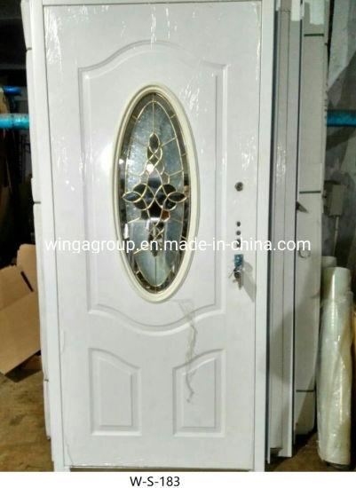 White Round Glass Security Steel Metal Iron Exterior Door W-S-183