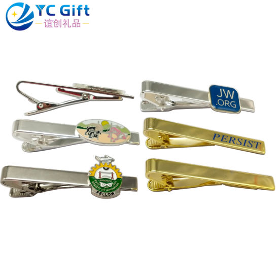 Wholesale Custom High Quality Fashion Metal Crafts Personalized Plating Gold Silver Tie Bar Tacks Company Engrave Name Tag for Men (TB01)