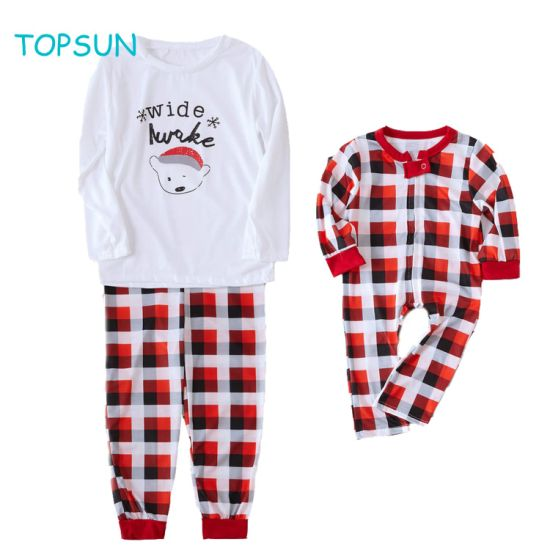 Family Matching Toddler Baby Children 2 PCS Set and Onesie Clothing Wear Footed Pajamas for Brother