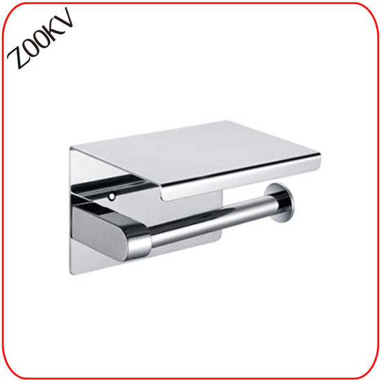 304 Stainless Steel Wall Mounted Washroom Restroom Bath Toilet Bathroom Kitchen Paper Towel Box with Cover Shelf Dispenser Two Tissue Roll Holder pictures & photos