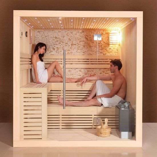 Cabin with LED Light Harvia Heater Sauna Bath Wooden Room