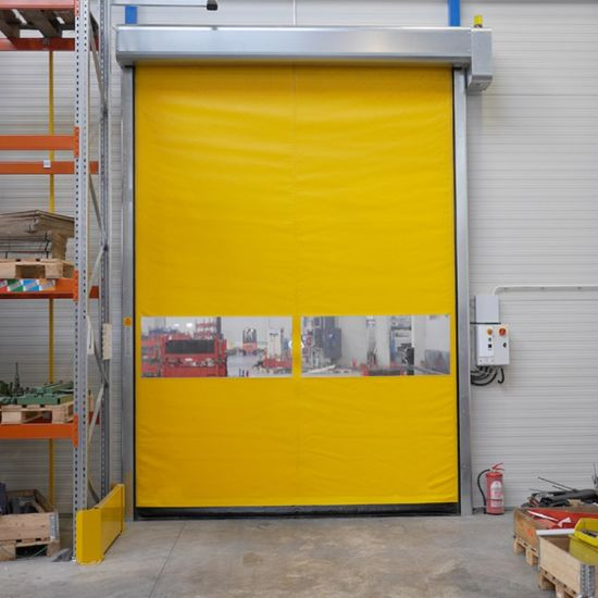 Automatic GMP PVC Fabric Zipper Airtight Self Repairing High Speed Fast Acting Rapid Rise Overhead Roll up or Roller Shutter Door for Warehouse or Clean Room