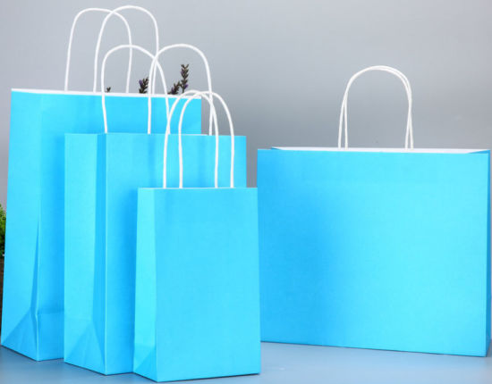 120GSM Colorful Printing Kraft Paper Bag with Twisted Handles