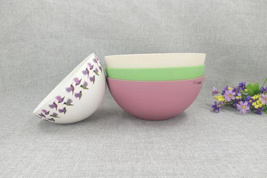 Custom Printed Logo Wholesale Natural Eco Friendly Fiber 6inch Food Salad Fruit Bamboo Bowl