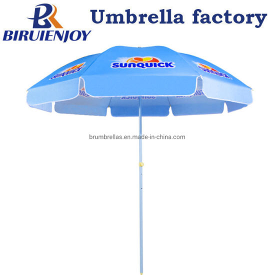 2019 Fantastic High Quality Blue Polyester Outdoor Sun Umbrella with Custom Logo Printed