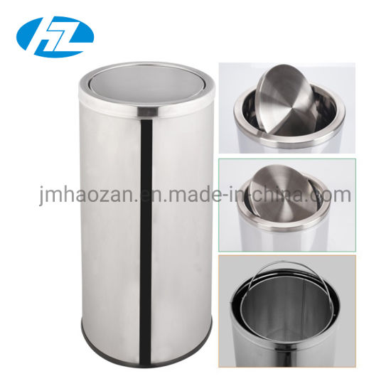 High Quality Stainless Steel Swing Lid Trash Bin, Dustbin