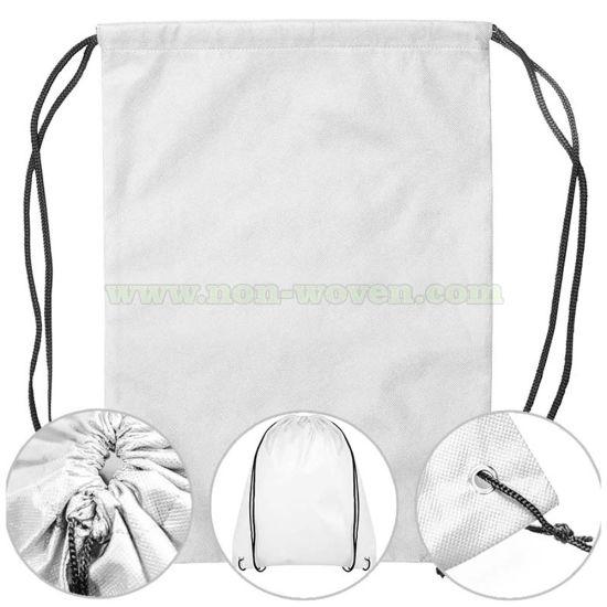 Promotional Bag, Non Woven Drawstring Backpack Bag 19# White