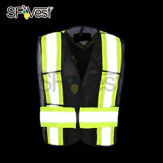 Safety Reflective Workwear Black Motorcycle or Police Reflective Mesh Vest