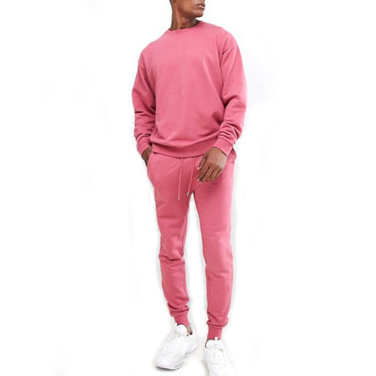 Top Fashion Trendy Tracksuits Custom Pink Tracksuit Men French Terry Sweatsuit