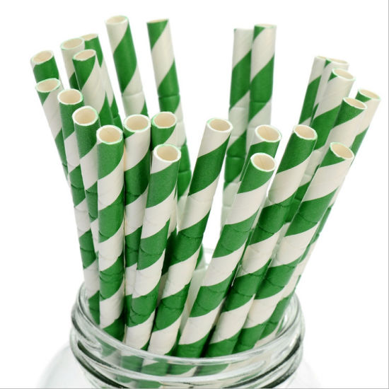 High Quantity Disposable Striped Bendy Flexible Paper Straw