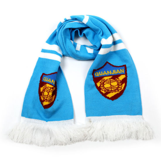 High Quality Popular 100% Acrylic Scarf Women Football Knitted Scarves