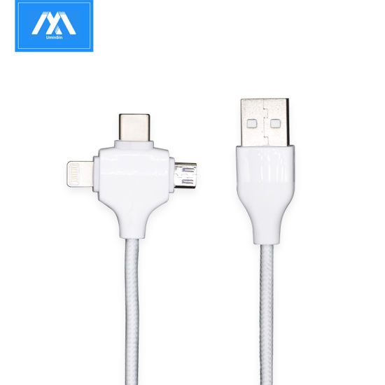 Fast Charging 3 in 1 Multi Ports Smart Phone USB Cable Charger for Type C Micro USB Lightning