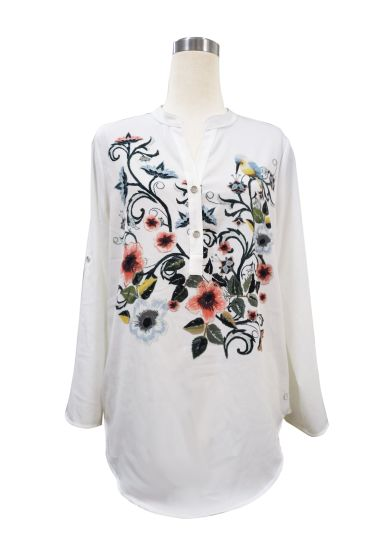 White Blouse Womens Shoulder Embroidered Shirt Fashion Patches Women Blouse
