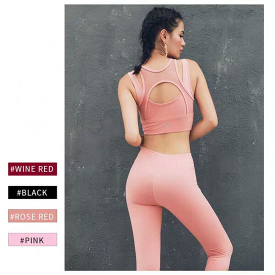 Women's Mesh Yoga Workout Tank Tops Active Wear Sexy Sports Shirts with Pants Athletic Fitness Suits