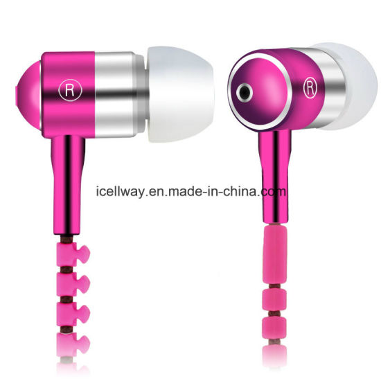 Metal Zipper Earphone with Microphone for iPhone pictures & photos