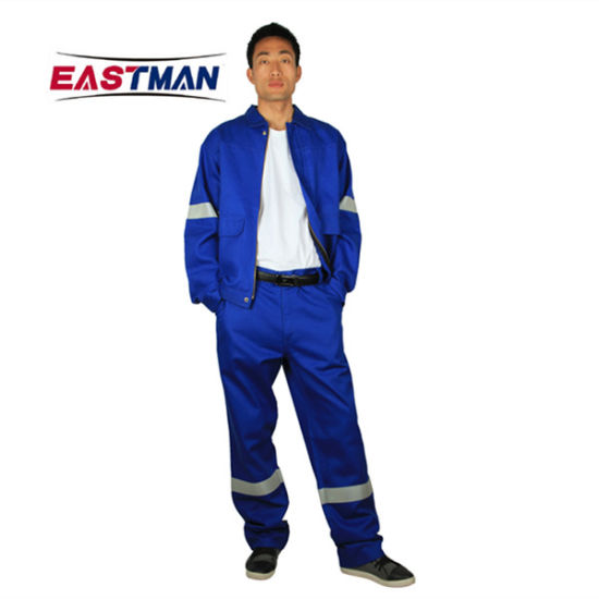 Cotton Flame Retardant Jacket Pants Workwear Suit with Reflective Tape pictures & photos