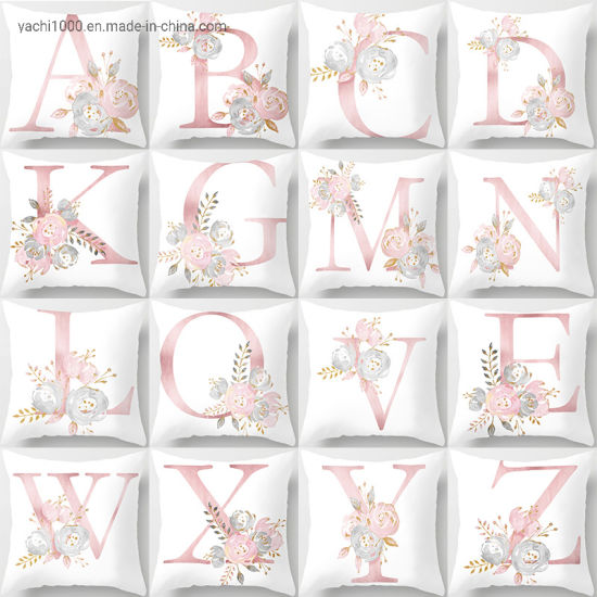 Wholesale Best Gift 26 Letters Print Pillow Soft Plush Cushion for Home Decoration