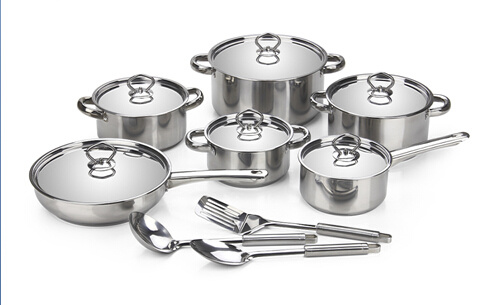Capsuled Bottom Stainless Steel 12PCS Cookware Set