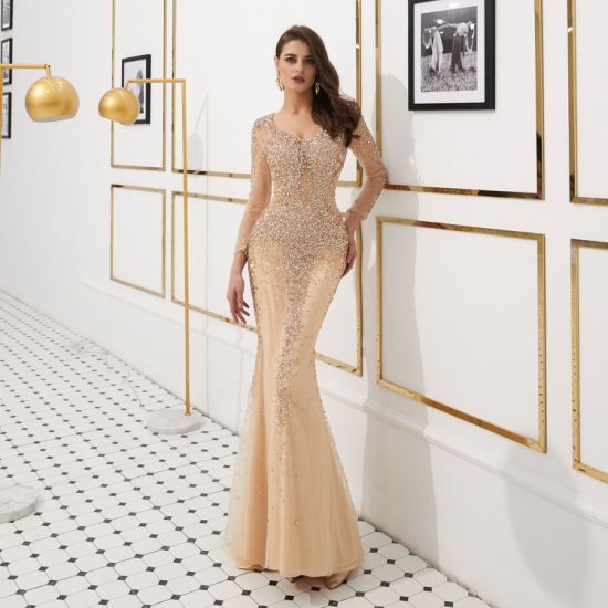 Sexy Luxury Sparkle Mermaid Slim-Fit Long Sleeve Sweep Train with Heavy Sequin Evening Dress Banquet Dress Celebrity Dress Party Dress Stage Dress