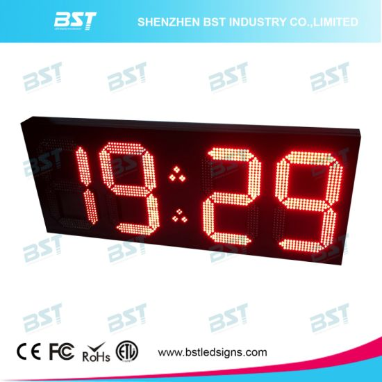 Large Outdoor Waterproof LED Clock Display Sign with Temperature Display pictures & photos