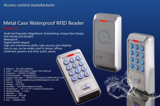 Metal Case Waterproof Emid MIFARE Proximity Card Reader pictures & photos