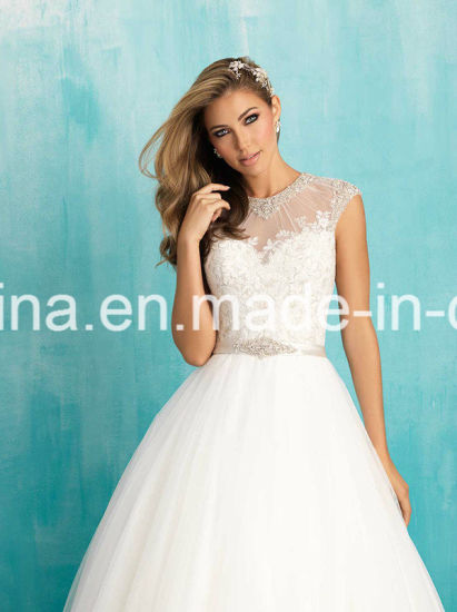 10% off Capped Sleeves Jewel Neckline Floor Length Wedding Gown (Dream-100018) pictures & photos