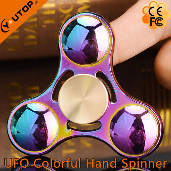 Popular Rainbow UFO Fidget Spinner with Long Rotating pictures & photos